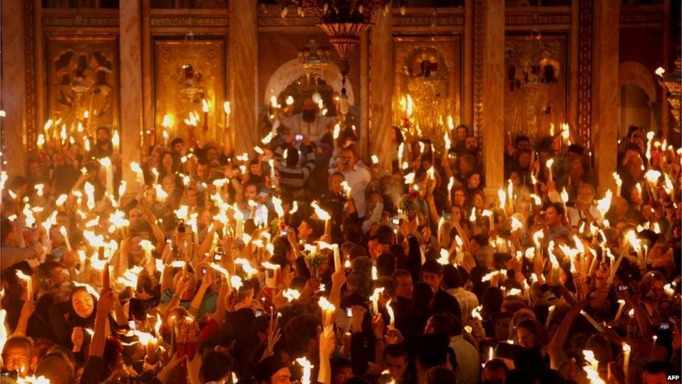 В греческом приделе храма Воскресения Христова