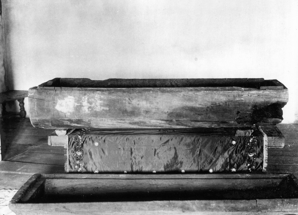 The hewn coffin in which St. Seraphim was buried, made by the Saint himself.