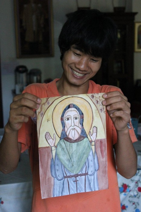 Orthodox Laotian, Constantine, shows his first icon
