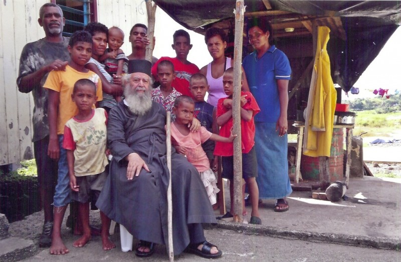 A contemporary Greek missionary, Metropolitan Amphilochios of New Zealand, with an Orthodox family of natives of Fiji Island, members of the first Orthodox mission to Oceania