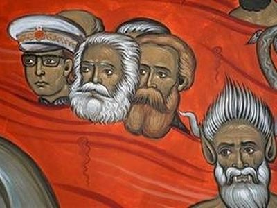 Communists roast in hell in Montenegro fresco