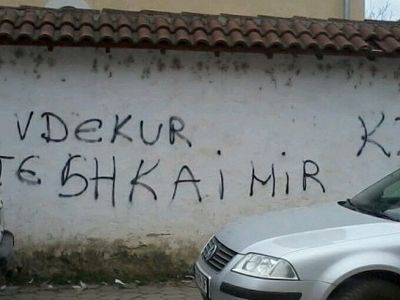 Insulting graffiti on the walls of Serbian Convent in Kosovo