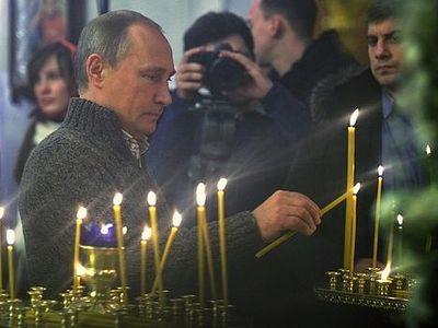 Владимир Путин встретил Рождество Христово в сельском храме в Воронежской области