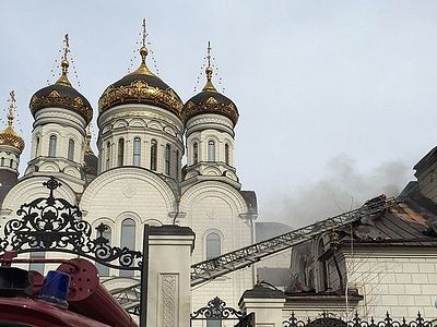 A shell hits the refectory near cathedral during bombardment of Horlivka