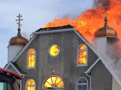 Thorhild church destroyed by fire