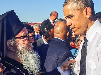 Archbishop Demetrios of America Crosses Edmund Pettus Bridge with President Obama