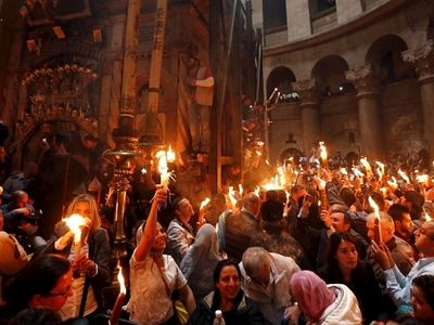 In pictures: Stunning scenes from Orthodox Easter Holy Fire ceremonies
