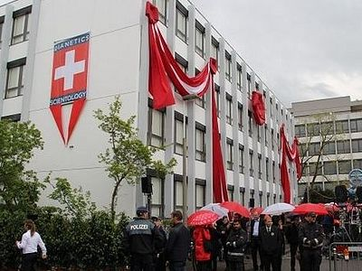 A rally against opening of the largest center of Scientology takes place in Basel