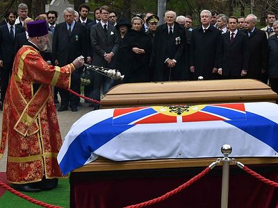 Archbishop Michael of Geneva and Western Europe Participates in the Reburial of the Remains of Grand Duke Nikolai Nikolaevich and His Wife