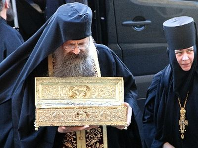 A blind woman's sight was restored before Great Martyr George's relics in St. Petersburg