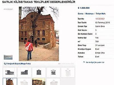 Historic church in Bursa province put on sale online
