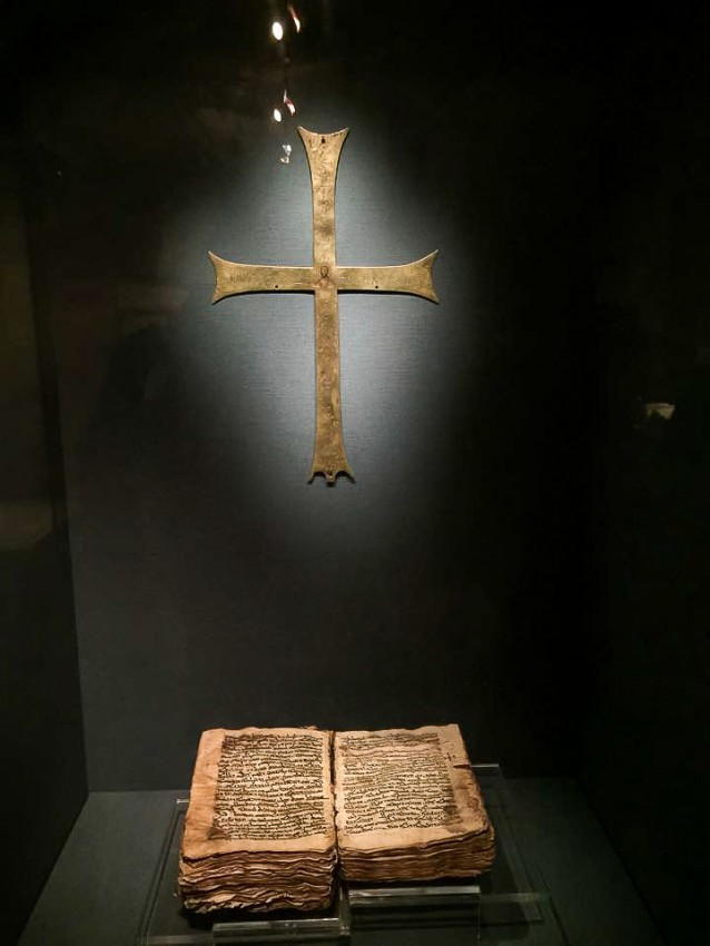 Ancient crosses and copies of the Scriptures