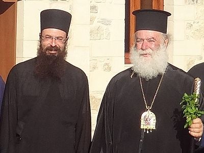 His Beatitude Theodoros II congratulates Archimandrite Gerasimos Marmatakis on his election as new Metropolitan of Petra and Herronisos in Crete