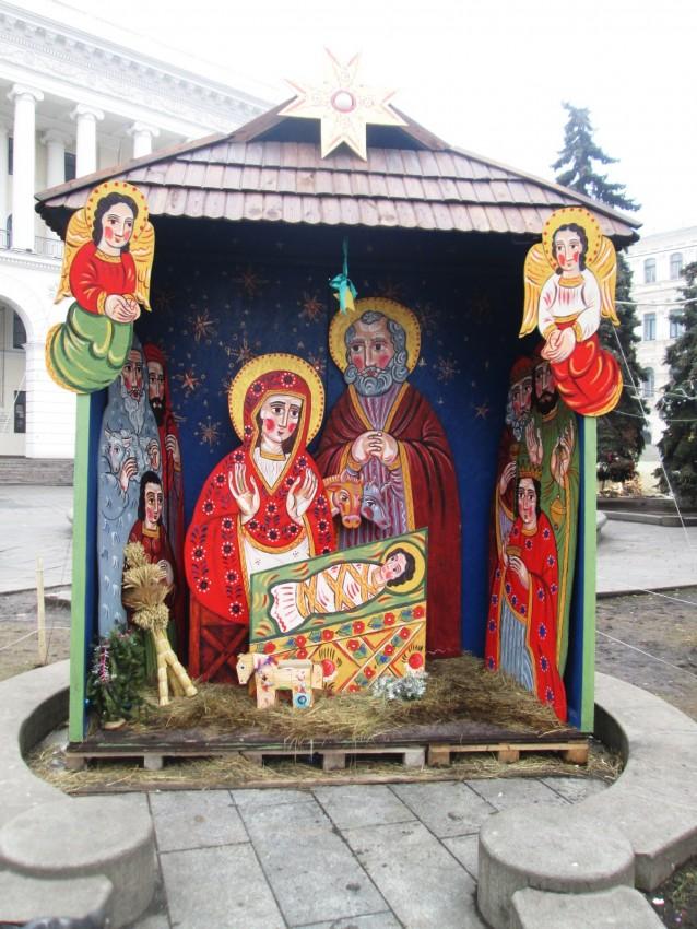 Этот вертеп был установлен во время Майдана