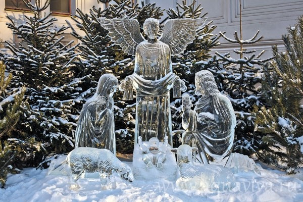 Some manger scenes are made of ice.