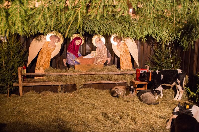 Children love manger scenes with animals.