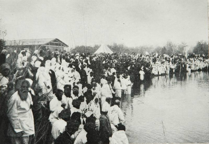 Russian pilgrims on the river Jordan, early 20th century.