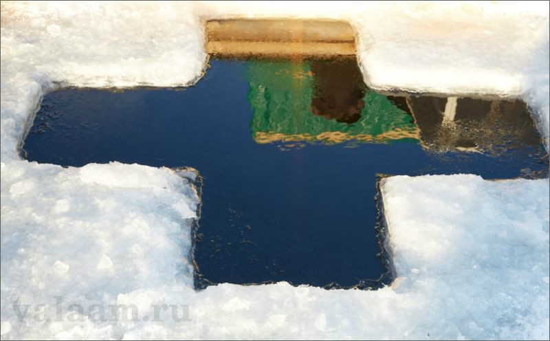 Theophany ice-hole on Valaam,