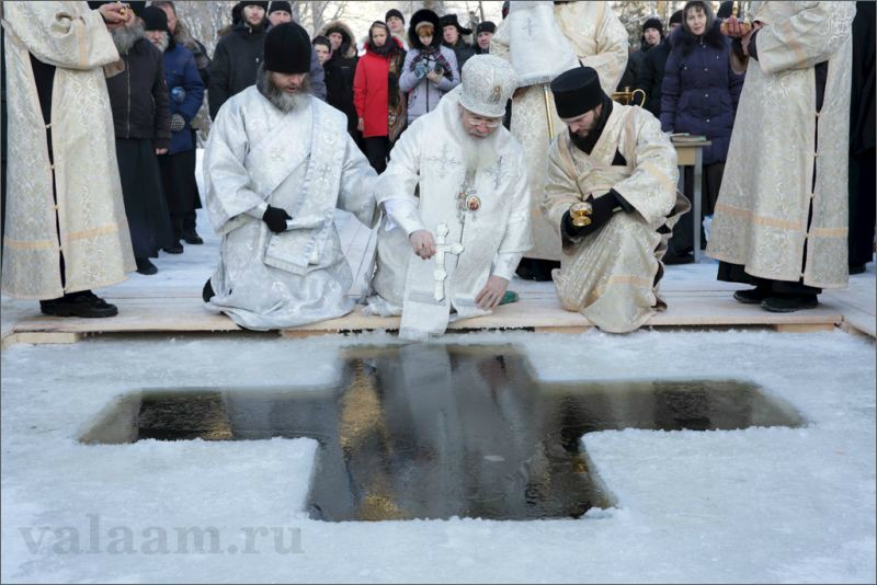 Abbot of Valaam Monastery Bishop Pankraty of Troitsk is blessing the waters.