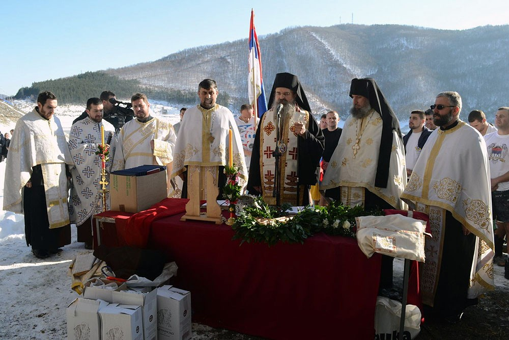 Northern Kosovo and Metohija. A moleben at Lake Gazivod. Bishop Teodosije of Raška-Prizren.