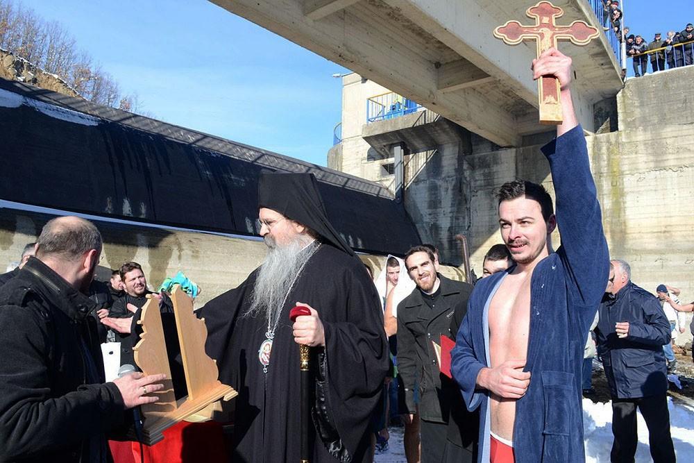 Northern Kosovo and Metohija. At Lake Gazivod. Stefan Nedelkovic is the winner. Diocese of Raška-Prizren.