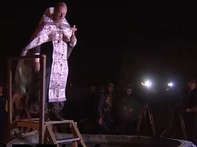 Russian servicemen at Hmeimim airbase in Syria's Latakia marked Feast of Baptism of Christ