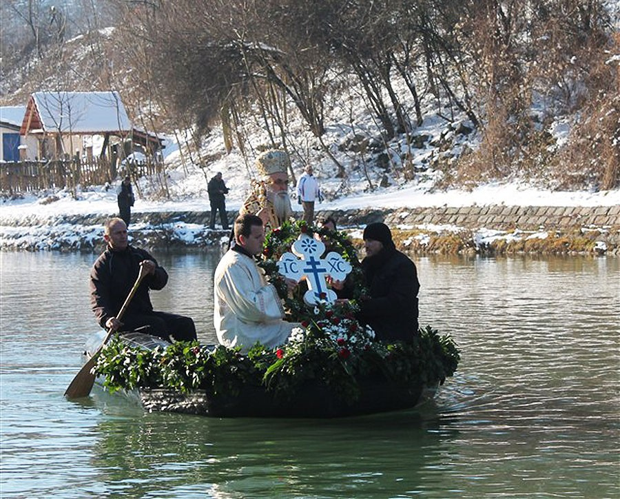 Bishop Milutin of Valjevo on the Gradac River. Valjevo diocese.