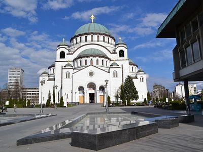 Decoration of Church of Saint Sava dome begins