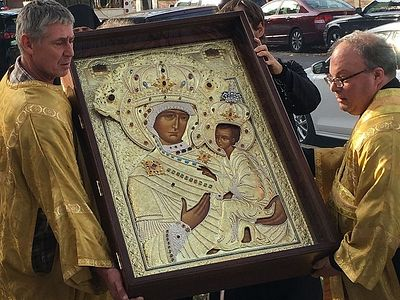 Reproduction of Tikhvin Icon enshrined in Chicago's historic Holy Trinity Cathedral