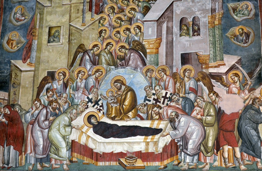 Fresco of the Dormition of the Mother of God. Church of the Holy Theotokos Perivleptos