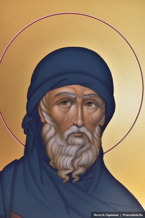 Преподобный Антоний Великий. Фрагмент иконы