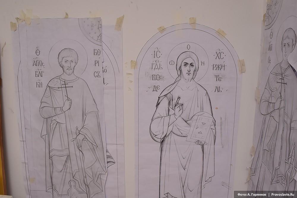 Эскизы к иконам Христа и св. страстотерпца Бориса
