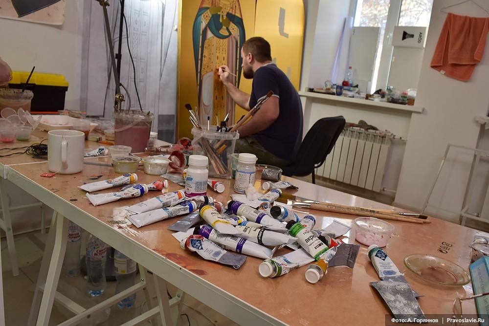 Работа над иконой св. праведного Иоанна Кронштадтского