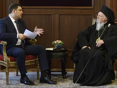 Patriarch Bartholomew tells Ukrainian PM that Constantinople will help build single Church in Ukraine