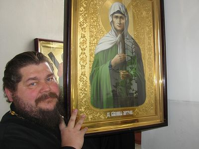 Image of St. Matrona appears on church wall