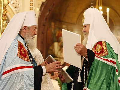 Moscow Patriarchate and Russian Orthodox Church Abroad reunited 10 years ago today