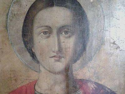 Icon of St. Panteleimon shedding tears in Greece