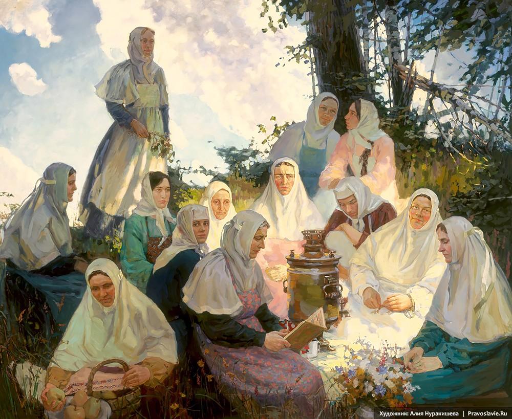 Сестры Пюхтицкого монастыря на покосе