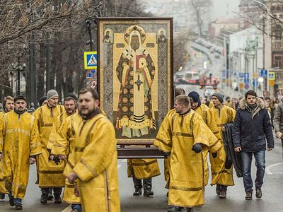 First cross procession of new year held in honor of St. Peter of Moscow