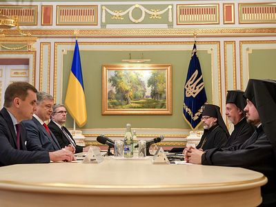 Constantinople delegation snubs Ukrainian Church's celebrations, instead meets with Poroshenko, says autocephaly is the goal