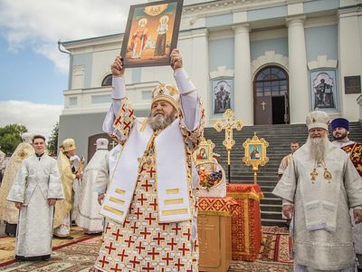 Rite of glorification of Hieromartyr Nikolai Chernishev and his daughter Barbara celebrated on feast of Transfiguration