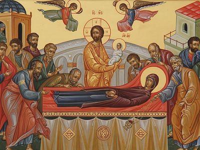 Всенощное бдение в Сретенском монастыре накануне Успения Божией Матери